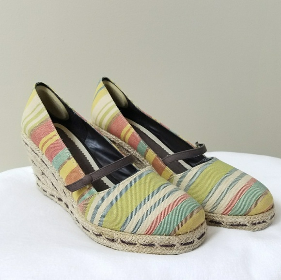 7926ad22a469bc Dexter Shoes - Dexter Striped Espadrille Mary Jane Style Wedges